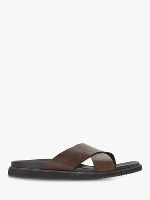 Bertie Idiom Leather Cross Strap Sandals, Brown