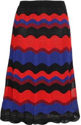 M Missoni Striped Crochet-knit Midi Skirt