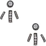 Lynn Ban Trilogy Ear Jackets in Black Rhodium Silver & White Diamonds
