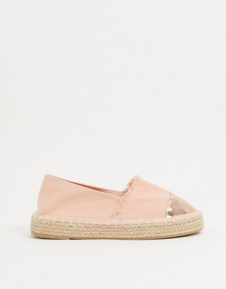 South Beach espadrilles in blush with gold toe cap