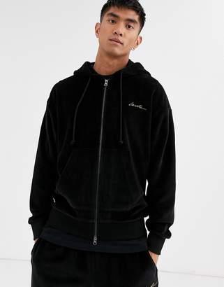 Lacoste Live L!VE velour full zip logo hoodie in charcoal-Black