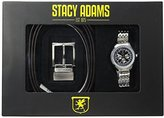 Stacy Adams Men's Gift Set with Reversible Belt and Silver Watch