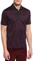 Salvatore Ferragamo Micro-Stripe Short-Sleeve Polo Shirt, Navy/Burgundy