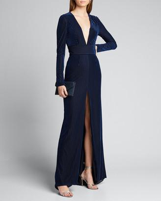 Galvan Velvet Deep-V Long-Sleeve Gown