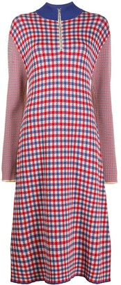 YMC High-Neck Gingham Midi Dress