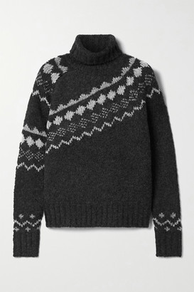 Derek Lam 10 Crosby Grammer Fair Isle Metallic Knitted Turtleneck Sweater