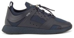 HUGO BOSS Leather Trimmed Trainers With Reflective Knit - White