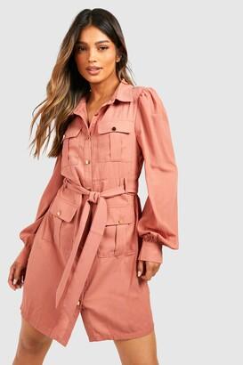 boohoo Utility Pocket Detail Shirt Dress