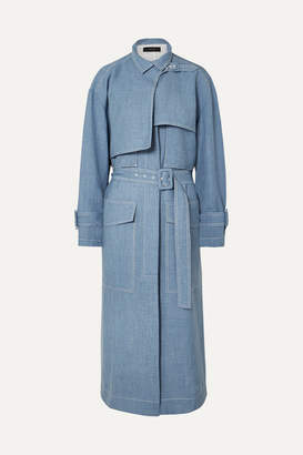 Joseph Warrick Linen-blend Trench Coat - Blue