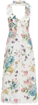 Zimmermann Ninety Six Cascade Floral-print Linen Halterneck Midi Dress