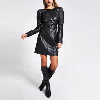 River Island Black leather long puff sleeve mini dress