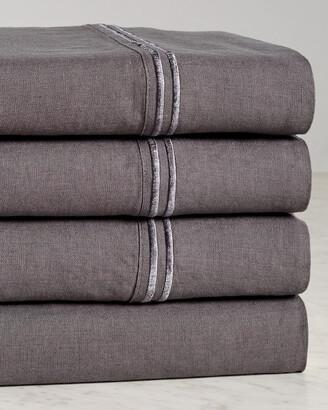 Melange Home Linen Two Stripe Embroidered Sheet Set