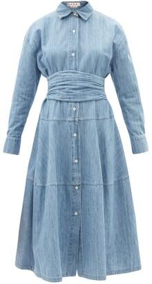 Marni - Belted Cotton-blend Chambray Shirt Dress - Blue