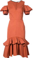 Tome ruffle trim fitted dress