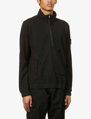 Stone Island Brand-patch high-neck cotton-jersey sweatshirt