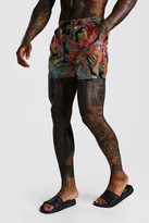 boohoo Mens Multi Short Length Swim Short In Palm Print, Multi