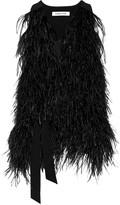 Elizabeth and James Xiomara feather-embellished crepe vest