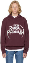 Maison Margiela Burgundy Panelled Graphic Hoodie