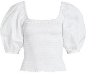 La Ligne Smocked Puff-Sleeve Cotton Poplin Top