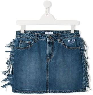 Msgm Kids TEEN fringed denim skirt