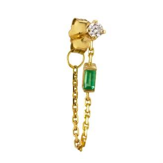 Irena Chmura Jewellery Elfin Diamond & Emerald Chain Earring