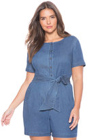 ELOQUII Plus Size Tie Front Chambray Romper