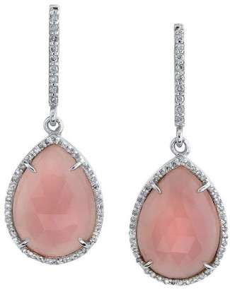Sheryl Lowe Guava Quartz Teardrop Earrings With Pave Diamonds