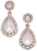 Charter Club Rose Gold-Tone Pave & Pink Stone Drop Earrings, Created for Macy's