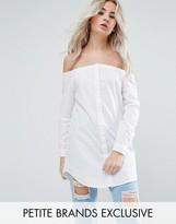 Noisy May Petite Longline Bardot Button Front Shirt