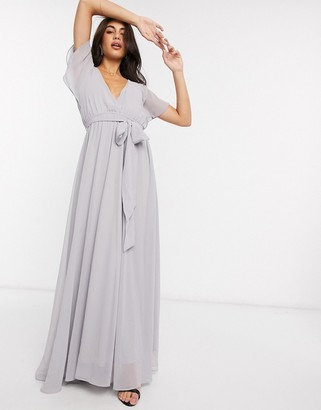 Goddiva Goddvia tie waist maxi dress in grey