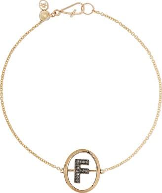 Annoushka 18kt yellow gold diamond initial F bracelet