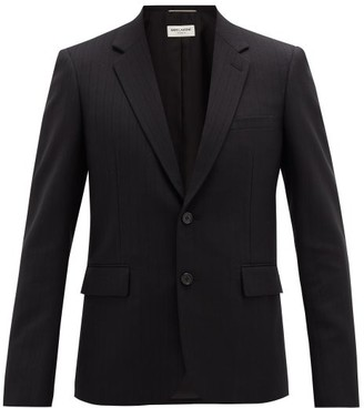 Saint Laurent Metallic-pinstripe Wool-blend Blazer - Mens - Black