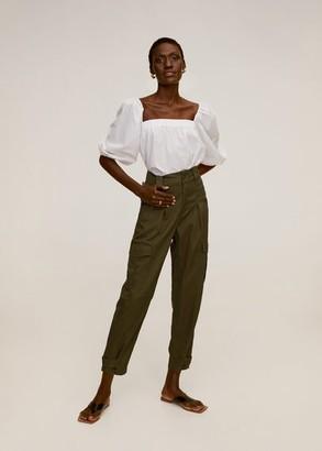 MANGO Soft cargo trousers khaki - XS - Women