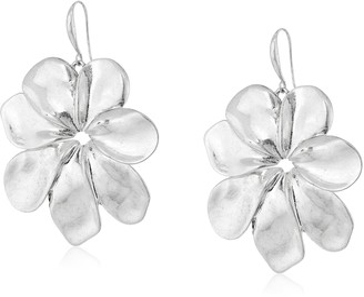 """Robert Lee Morris Femme Petal"""" Sculptural Flower Silver Drop Earrings"""
