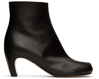 Maison Margiela Black Leather Tabi Ankle Boots