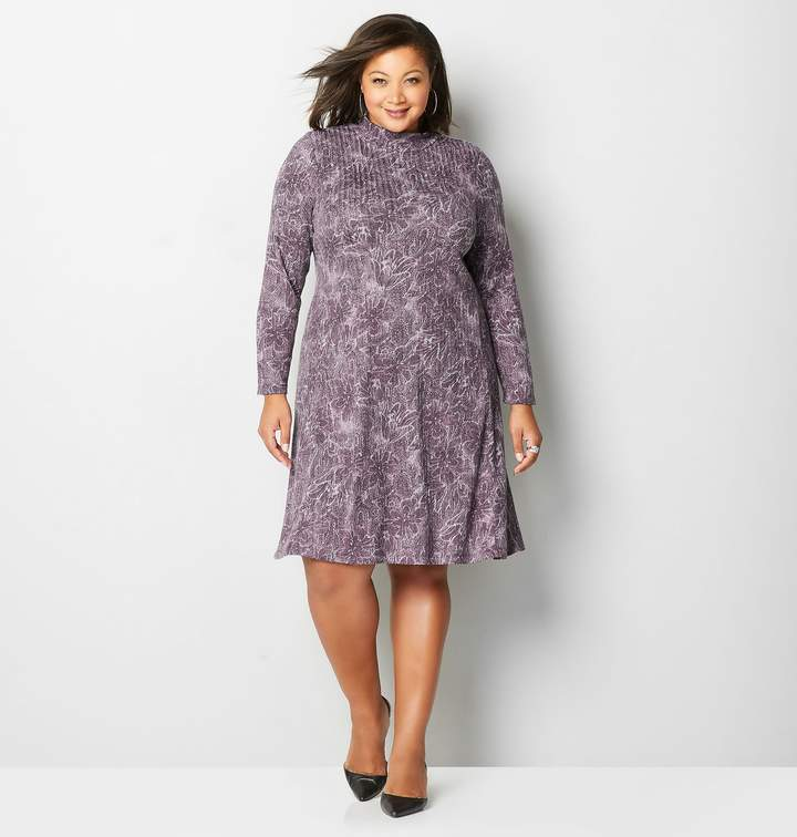 Plus Size Plum Floral Paisley A-Line Dress