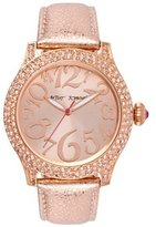 Betsey Johnson Women's Metallic Rose Leather Strap Watch BJ00019-60