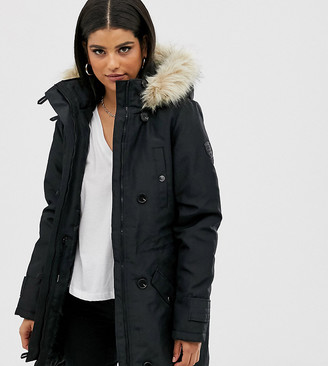 Vero Moda Tall faux fur hooded parka-Black