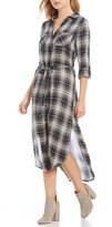 Elan International Plaid Dress with Sash