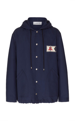 Lanvin Hooded Logo-Embroidered Cotton-Twill Parka