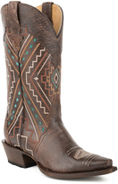 Roper Dark Brown Sanded Geometric Leather Western Boot