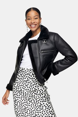 Topshop Womens Black Biker Jacket - Black