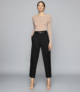 Reiss Tima - Off-the-shoulder Knitted Top in Nude