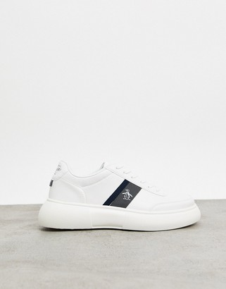 Original Penguin chunky sole lace up sneakers in white