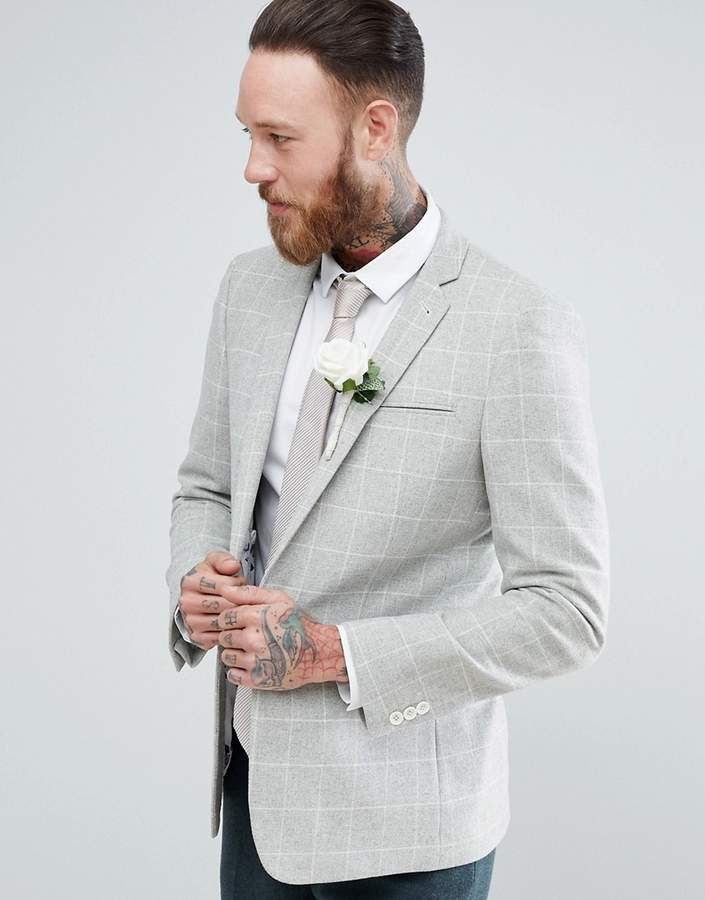 Asos Design Wedding Skinny Blazer In Putty Wool Mix Windowpane Check