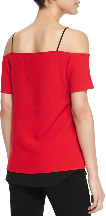 Cooper & Ella Louise Off-The-Shoulder Combo Top, Red/Black
