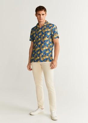 MANGO MAN - Hawaiian print shirt blue - S - Men