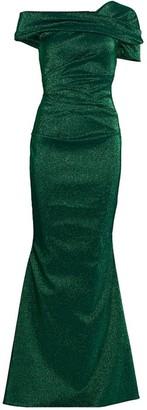 Talbot Runhof Stretch Off-The-Shoulder Glitter Gown