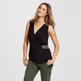 Women's Beaded Shoulder Faux Wrap Knit Tank - U-Knit