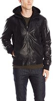 GUESS Men's Faux Leather Hooded Stand Collar Jacket